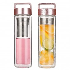 Double Walled Glass Tea Fruit Tumbler Infuser Water Bottle
