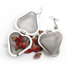 Heart Stainless Steel Mesh Tea Strainer With Chain