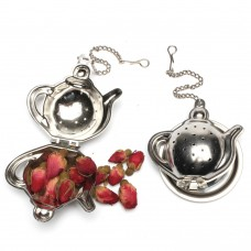 Stainless Steel Cute Tea Pot Shape Tea Infuser With Chain and Tray
